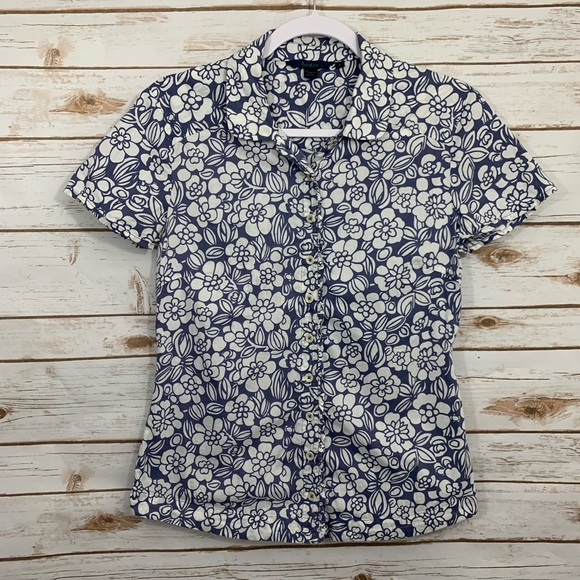 Boden Tops - Boden Floral Button Up Down Short Sleeve Blouse